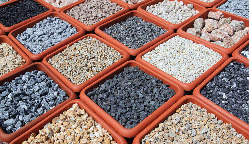 Different sizes and types of rocks for garden landscaping.